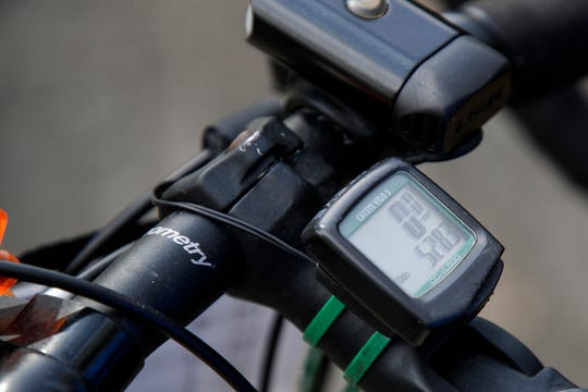 Carol Garsee's odometer reads 528.3 after arriving in Tallahassee from Monticello on just one leg of a 10-week cross-country bicycling trip from St. Augustine, Fla. to San Diego, Cal.