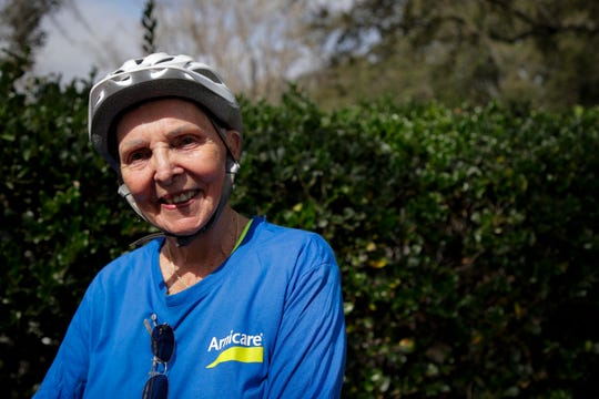 Carol Garsee, 77, a Chicago native, is embarking on a cross-country bicycling trip with a dozen other senior citizens from St. Augustine, Fla. to San Diego, Cal. They made a stop in Tallahassee Sunday, Feb. 17, 2019.