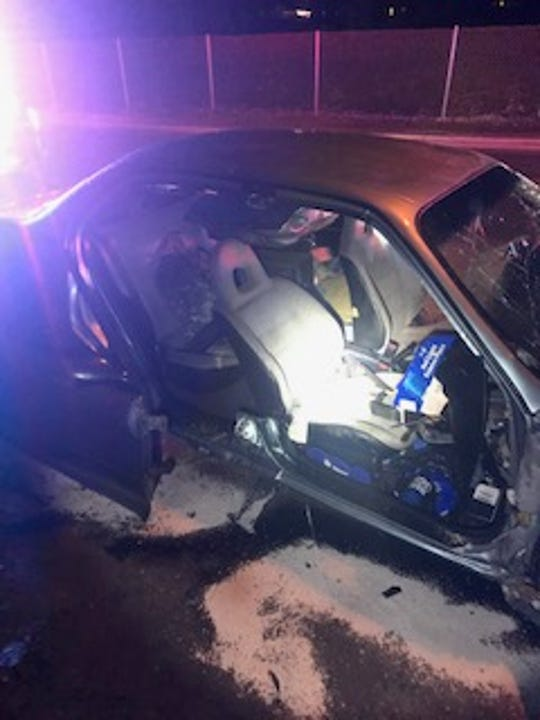 This was the scene of a single-vehicle crash that sent two people the hospital Friday night in Santa Paula.