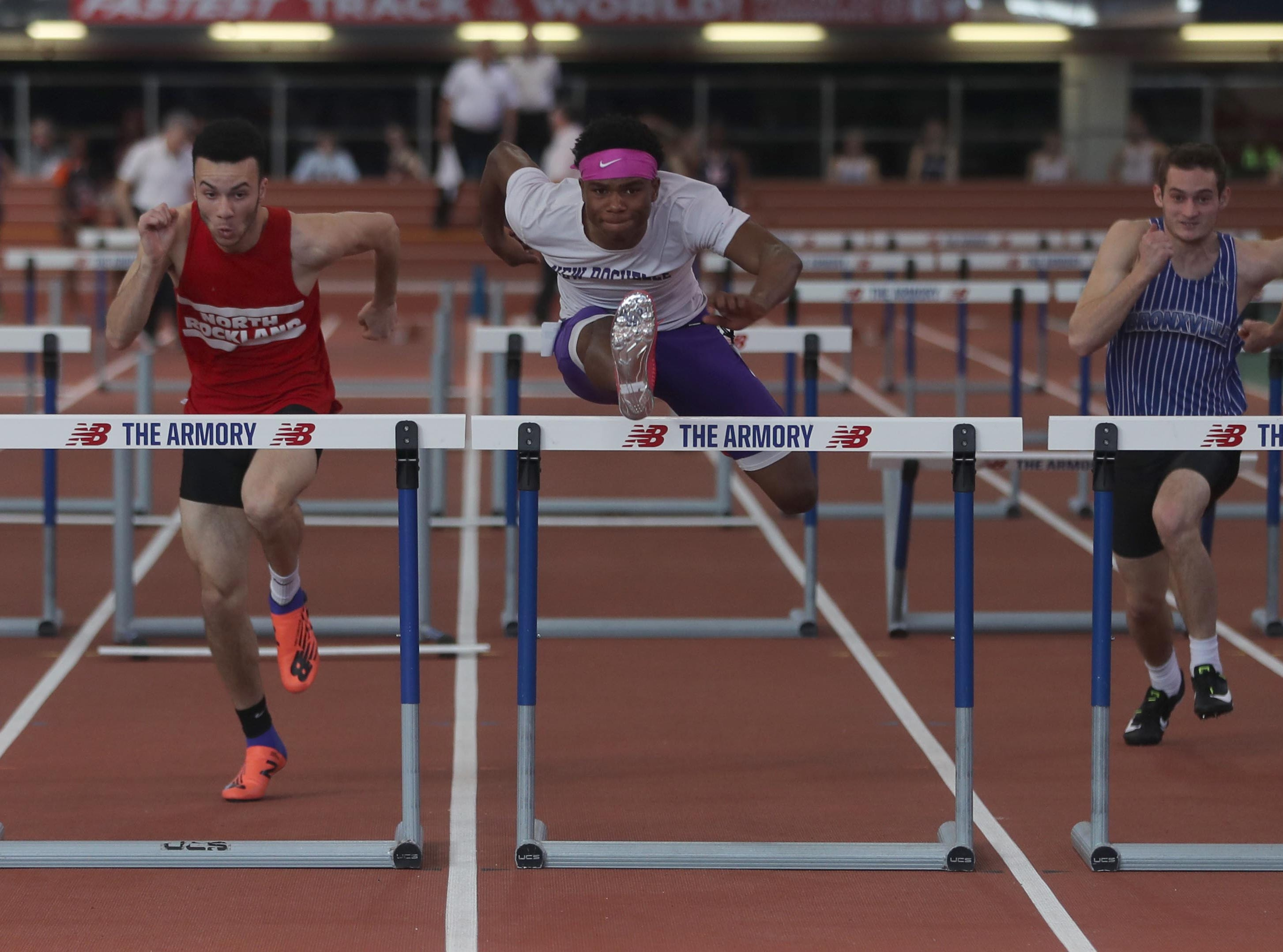 Jessie Parson of New Rochelle won the 55 meter hurdles during the Section 1 New York State Track and Field State Qualifier at the New Balance Armory in Manhattan Feb. 17, 2019. Parson's won with a time of 7:36.