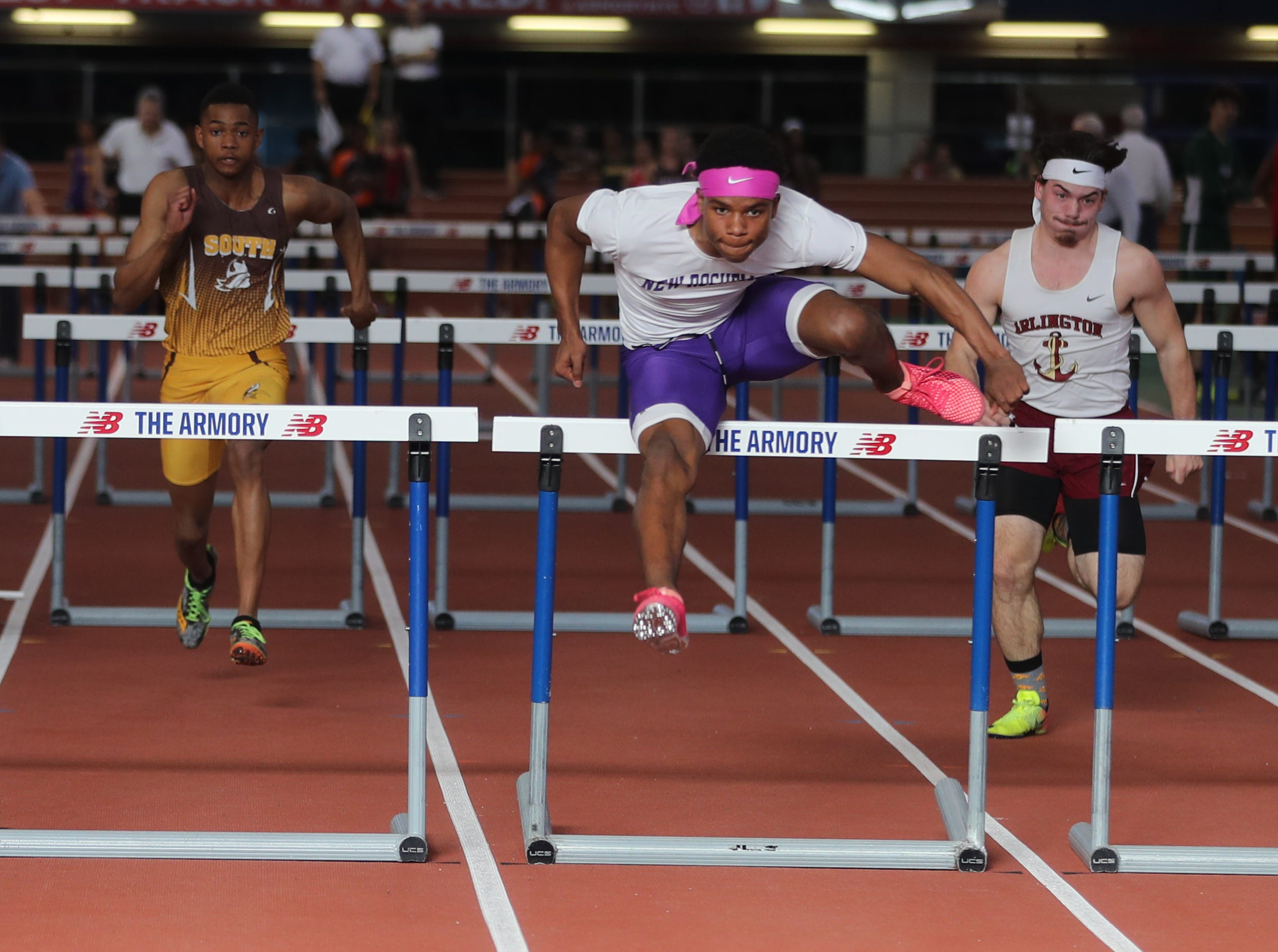 Jessie Parson of New Rochelle won his heat in the 55 meter hurdles during the Section 1 New York State Track and Field State Qualifier at the New Balance Armory in Manhattan Feb. 17, 2019.