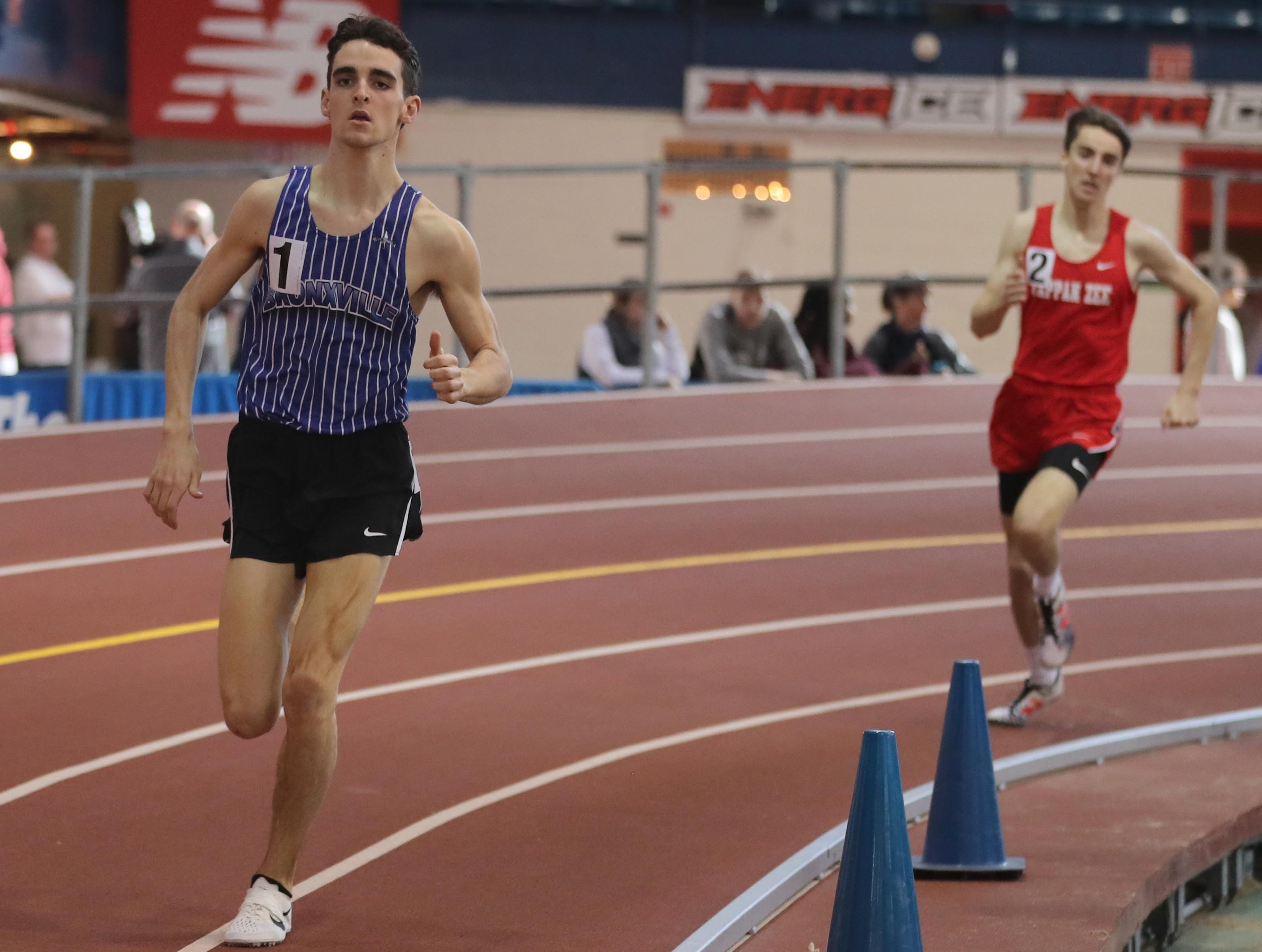 Matthew Rizzo of Bronxville won the 1000 meter race at the Section 1 New York State Track and Field State Qualifier at the New Balance Armory in Manhattan Feb. 17, 2019.