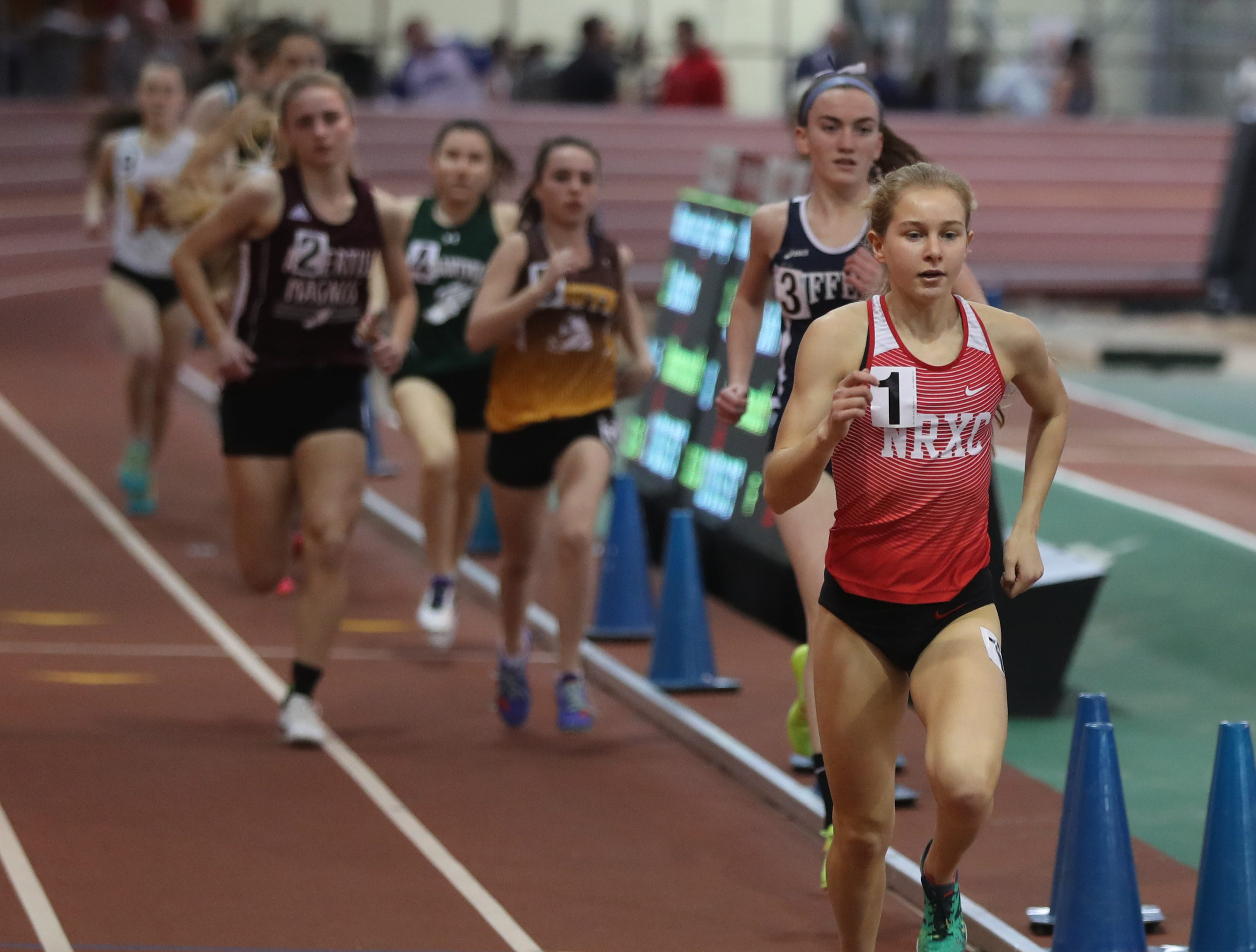 Katelyn Tuohy of North Rockland won the 1500 meter race in the Section 1 New York State Track and Field State Qualifier at the New Balance Armory in Manhattan Feb. 17, 2019. Tuohy won with a time of 4:27:34.