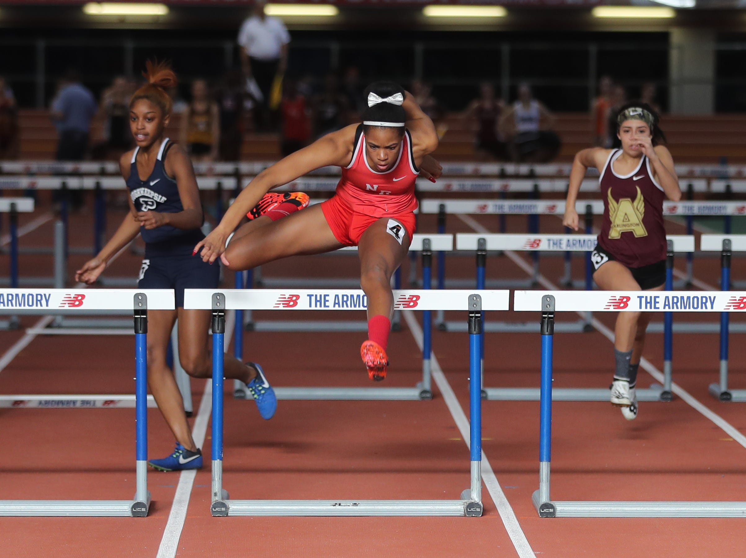 Torre Inzar of North Rockland won her heat in the 55 meter hurdles during the Section 1 New York State Track and Field State Qualifier at the New Balance Armory in Manhattan Feb. 17, 2019.