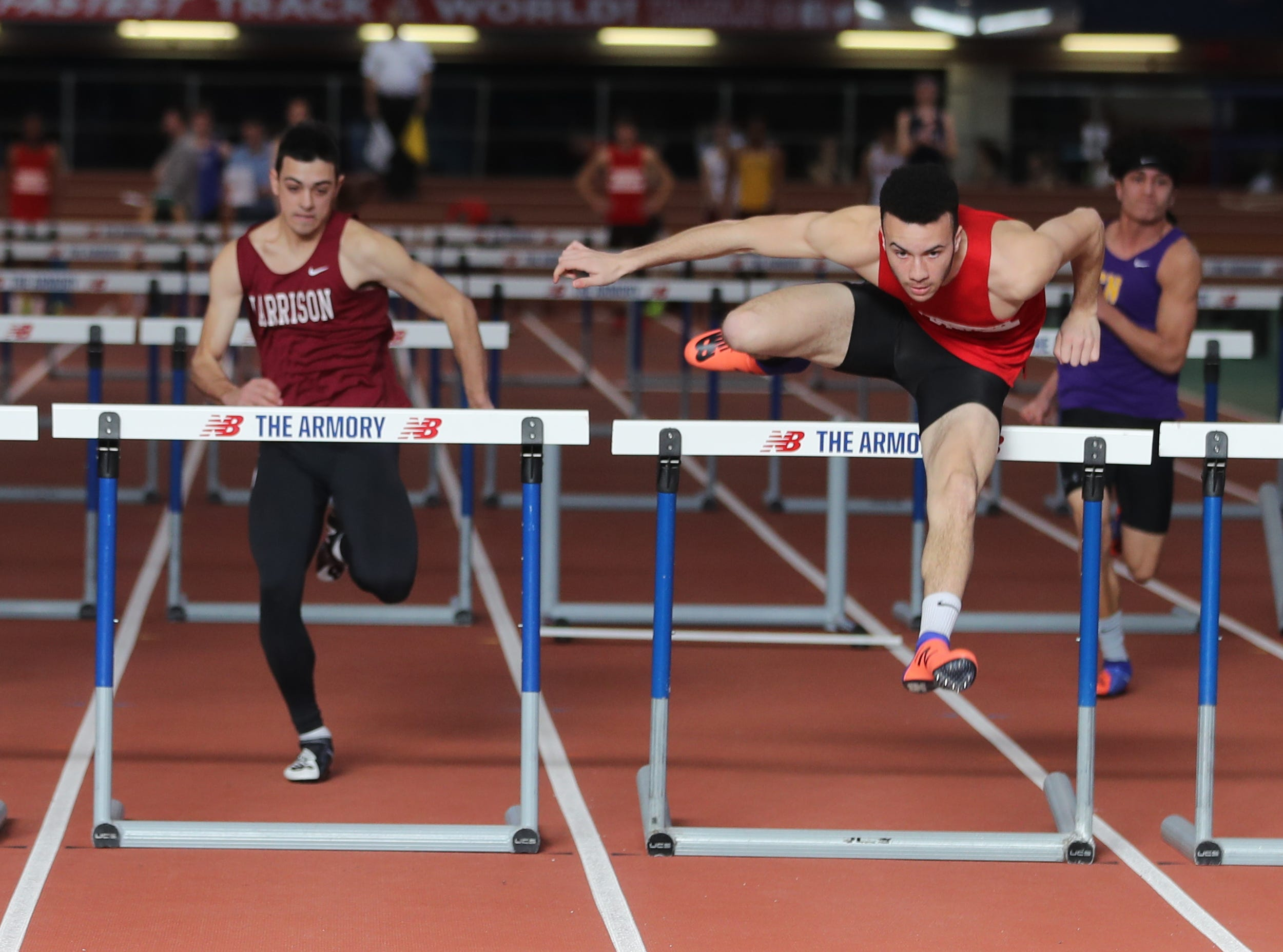Ryan Curtis of North Rockland won his heat in the 55 meter hurdles during the Section 1 New York State Track and Field State Qualifier at the New Balance Armory in Manhattan Feb. 17, 2019.