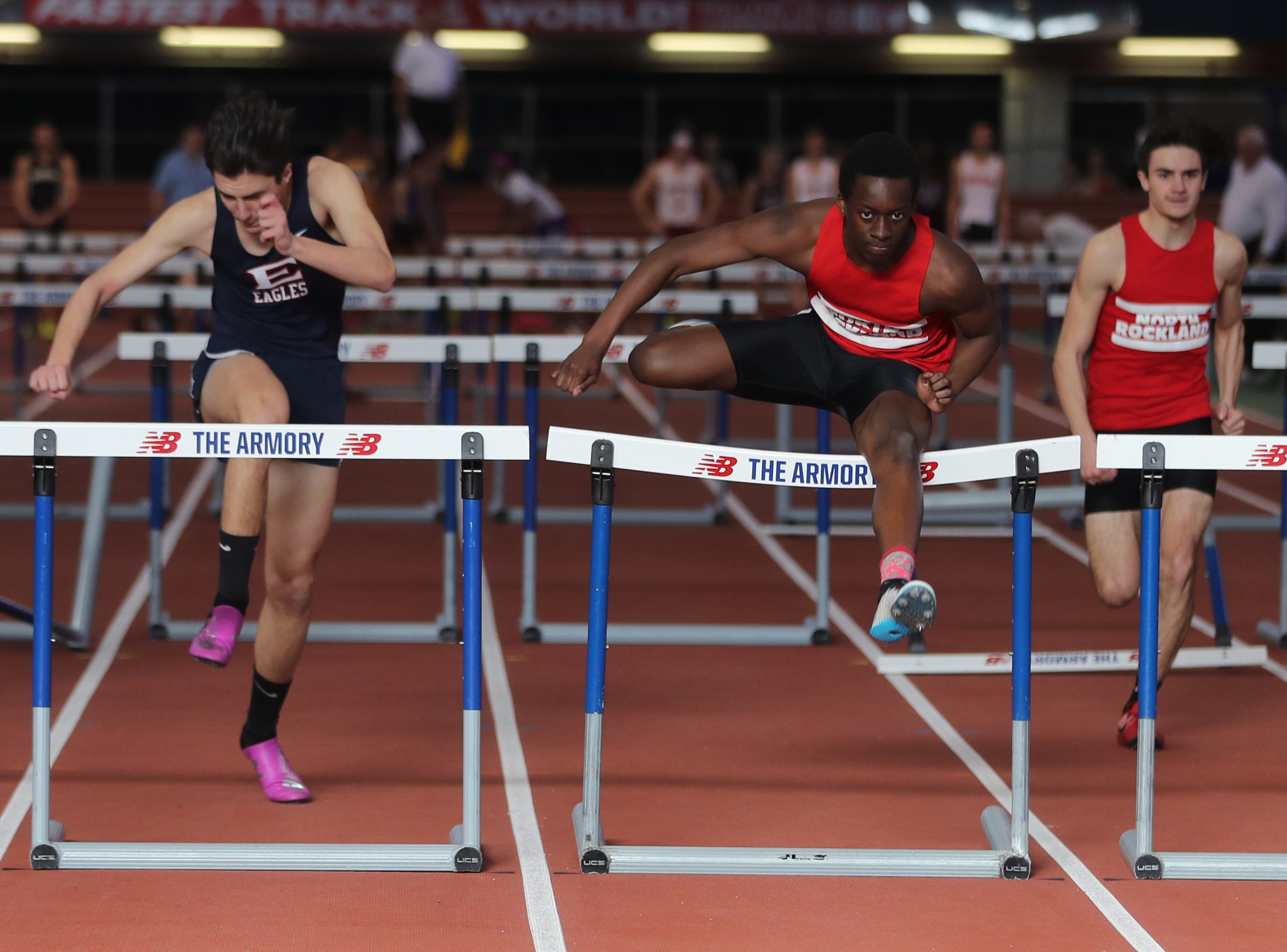 Emmanuel Joseph of North Rockland won his heat in the 55 meter hurdles during the Section 1 New York State Track and Field State Qualifier at the New Balance Armory in Manhattan Feb. 17, 2019.