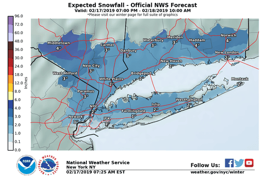 Expected snowfall counts in the Lower Hudson Valley for Feb. 17-18, 2019.