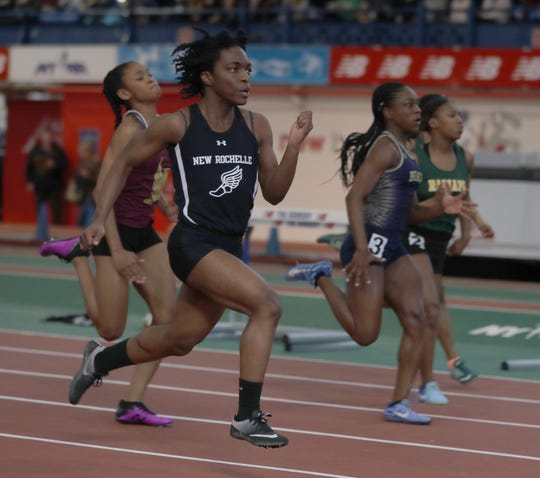 Rammona Genus of New Rochelle won 55 meter dash with a time of 7:30 during the Section 1 New York State Track and Field State Qualifier at the New Balance Armory in Manhattan Feb. 17, 2019.