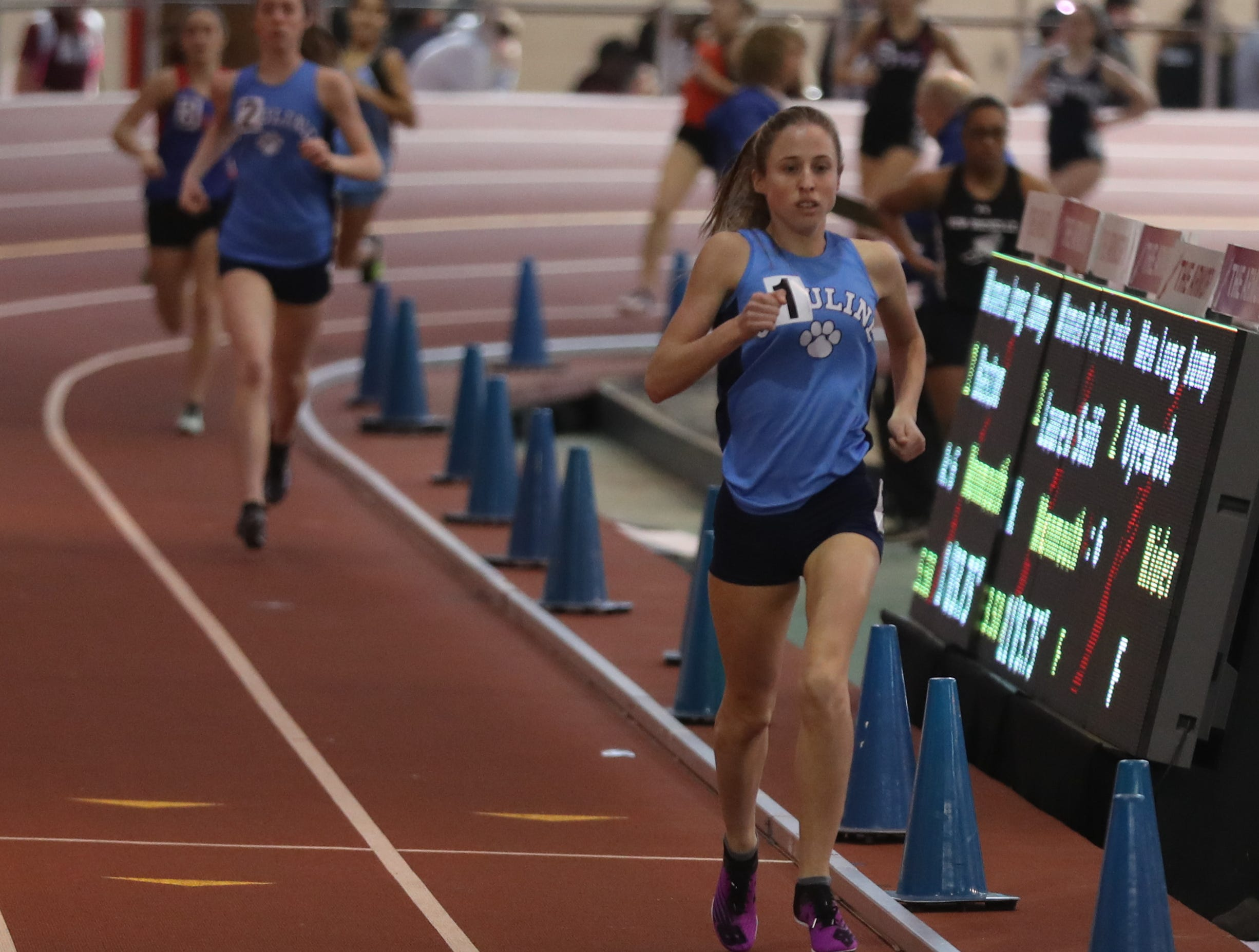 Lily Flynn of Ursuline won the 1000 meter race in the Section 1 New York State Track and Field State Qualifier at the New Balance Armory in Manhattan Feb. 17, 2019.