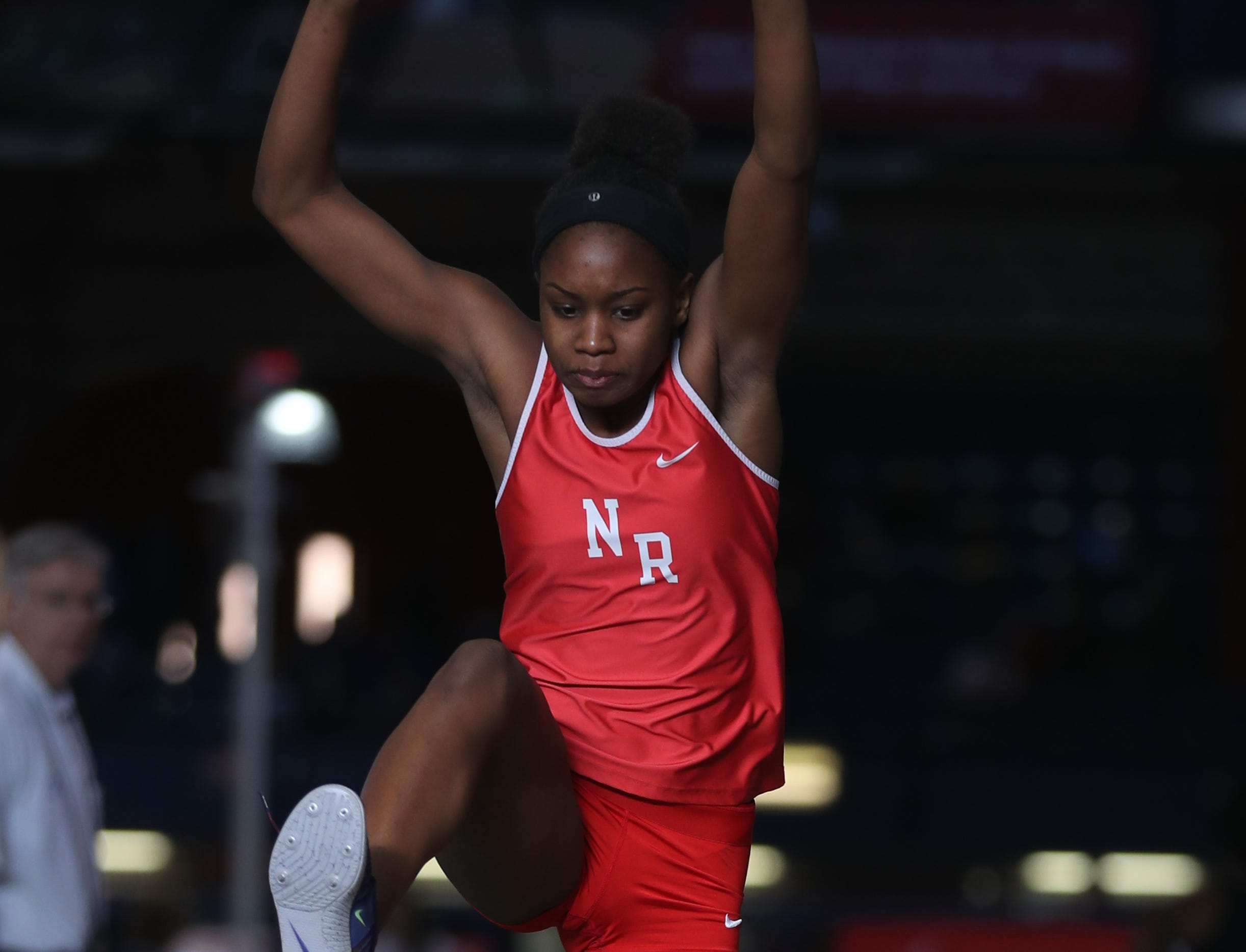 Nadia Saunders of North Rockland competes in the triple jump during the Section 1 New York State Track and Field State Qualifier at the New Balance Armory in Manhattan Feb. 17, 2019.