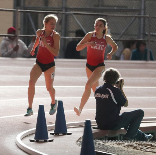 Katelyn Tuohy of North Rockland won the 3000 meter race in the Section 1 New York State Track and Field State Qualifier at the New Balance Armory in Manhattan Feb. 17, 2019. Behind her was teammate Haleigh Morales, who finished in second place. Tuohy won with a time of 9:59:74.