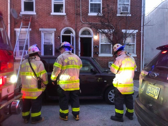 A family was displaced by a fire on Spruce Street in Wilmington Sunday morning.