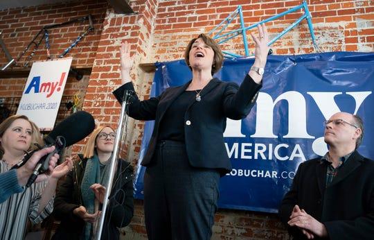 Democratic presidential candidate Sen. Amy Klobuchar, D-Minn., campaigns in Eau Clare, Wis., on Saturday, Feb. 16, 2019.