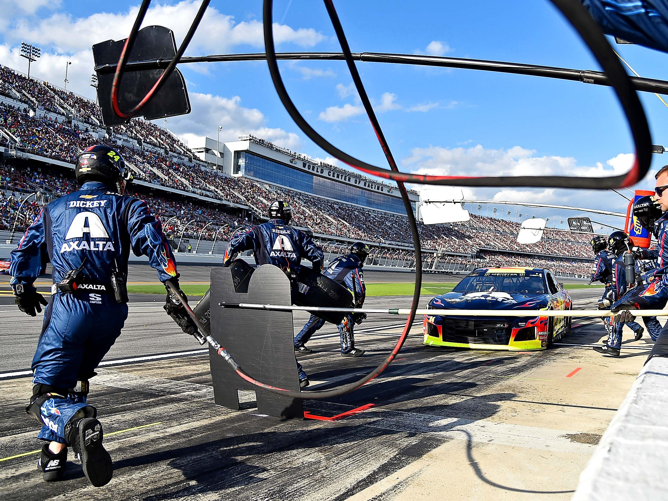 NASCAR Cup Series driver William Bryon (24) makes a pit stop during the Daytona 500 at Daytona International Speedway.