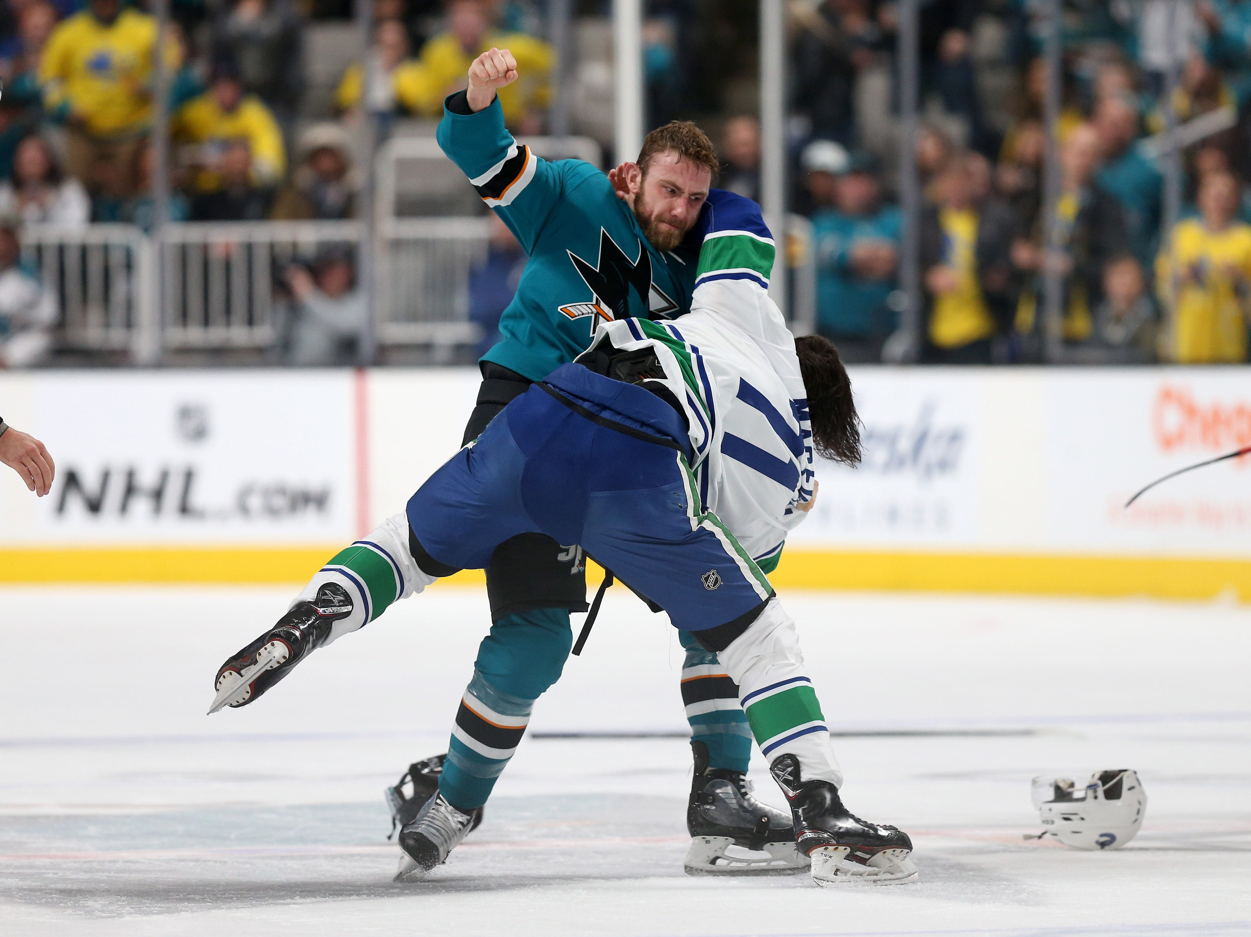 Feb. 16: San Jose Sharks' Barclay Goodrow vs. Vancouver Canucks' Zack MacEwen.