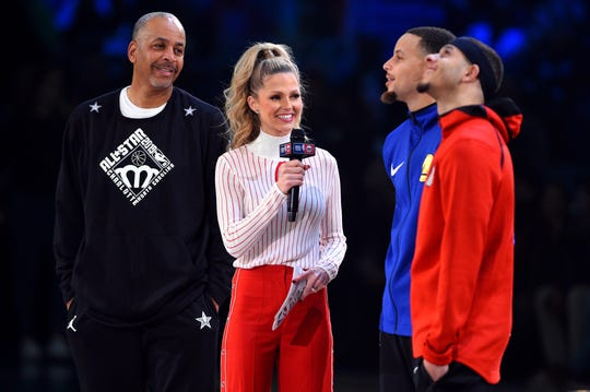TNT reporter Allie Laforce interviews Dell Curry, Stephen Curry and Seth Curry before the 3-Point Contest.