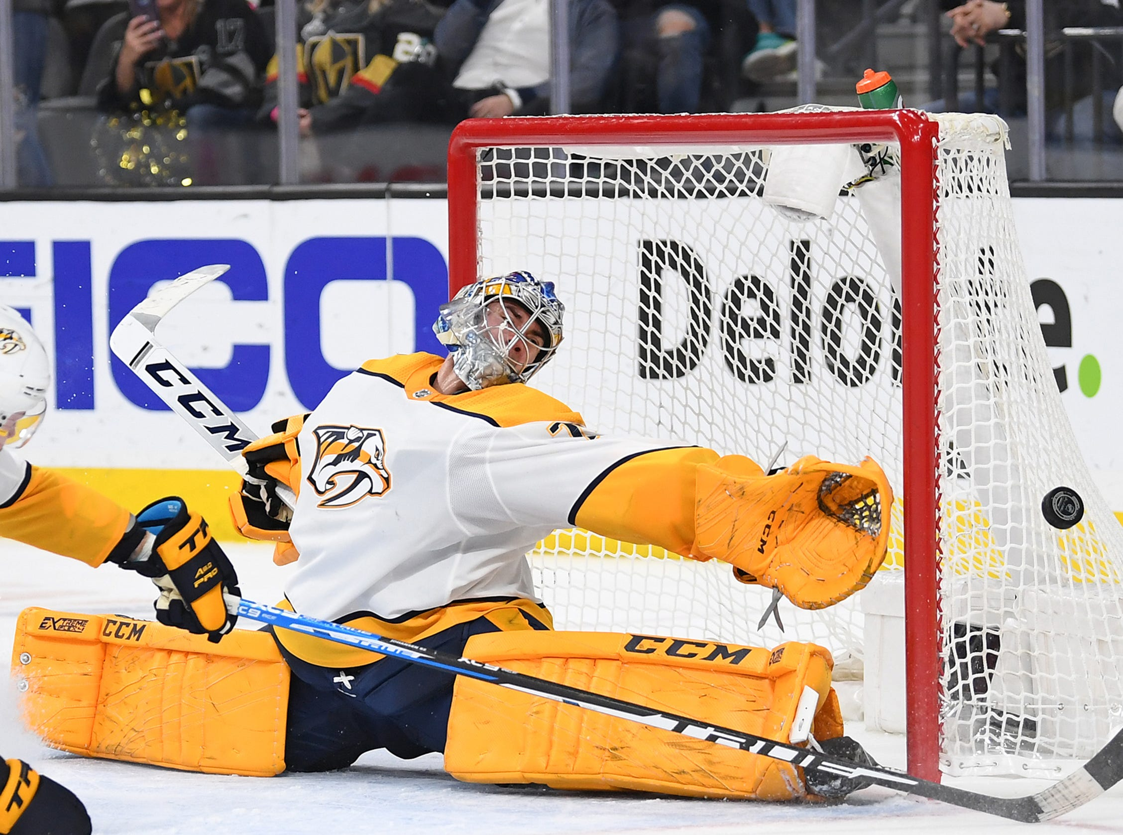 Feb. 16: Nashville Predators goaltender Juuse Saros (74) reaches to cover the left post during the second period against the Vegas Golden Knights.