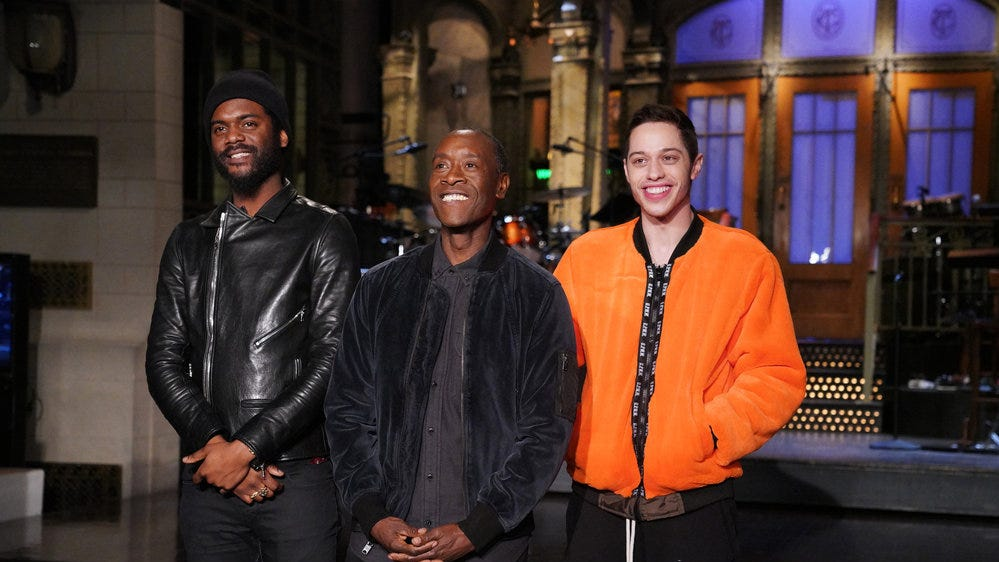 "Don Cheadle, with Gary Clark Jr., left, and Pete Davidson, hosted ""Saturday Night Live"" this weekend."