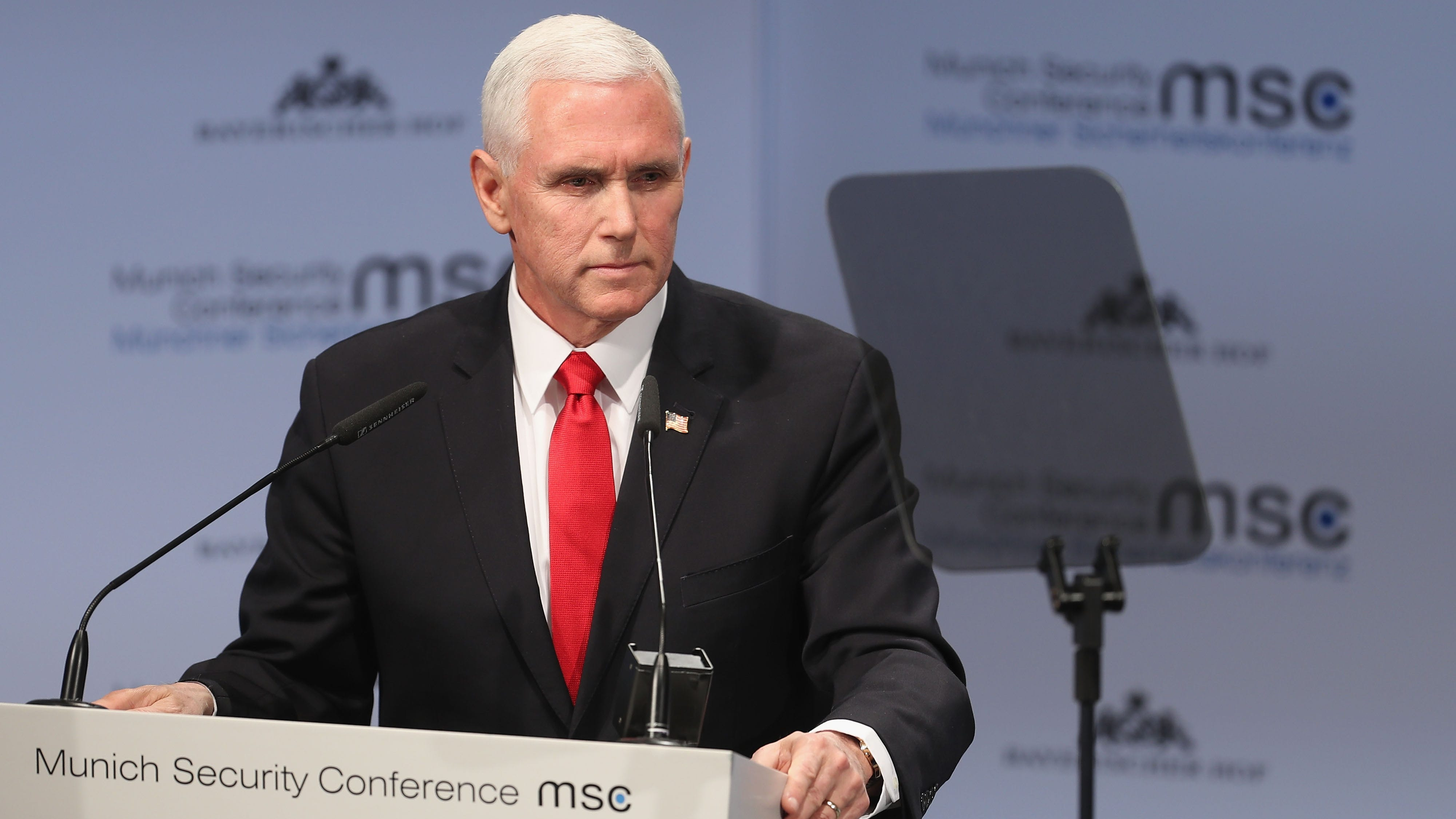 Vice President Michael Pence gives a speech during the 55th Munich Security Conference on Feb. 16, 2019, in Munich, Germany.