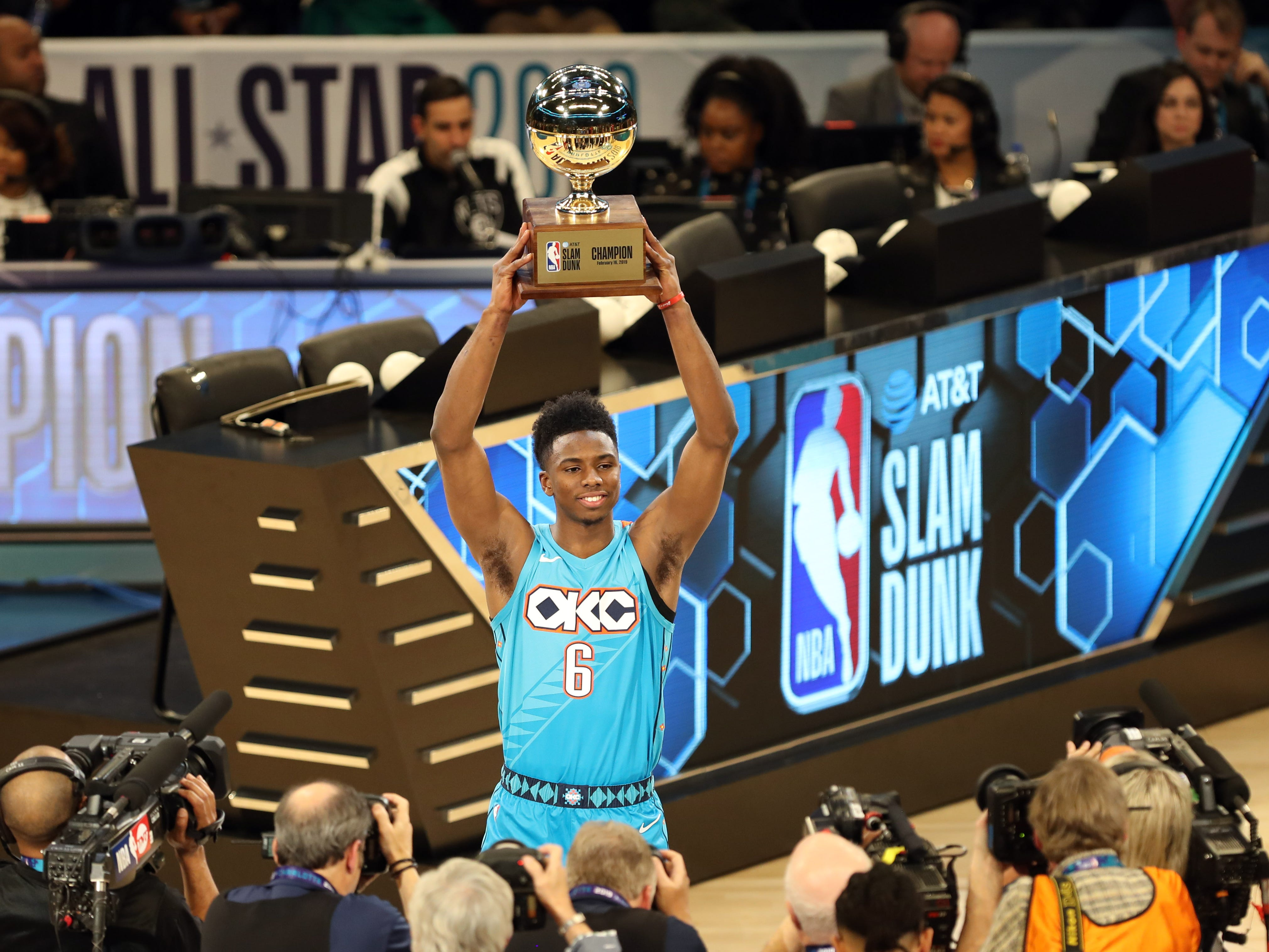 Hamidou Diallo celebrates after winning the Slam Dunk Contest.