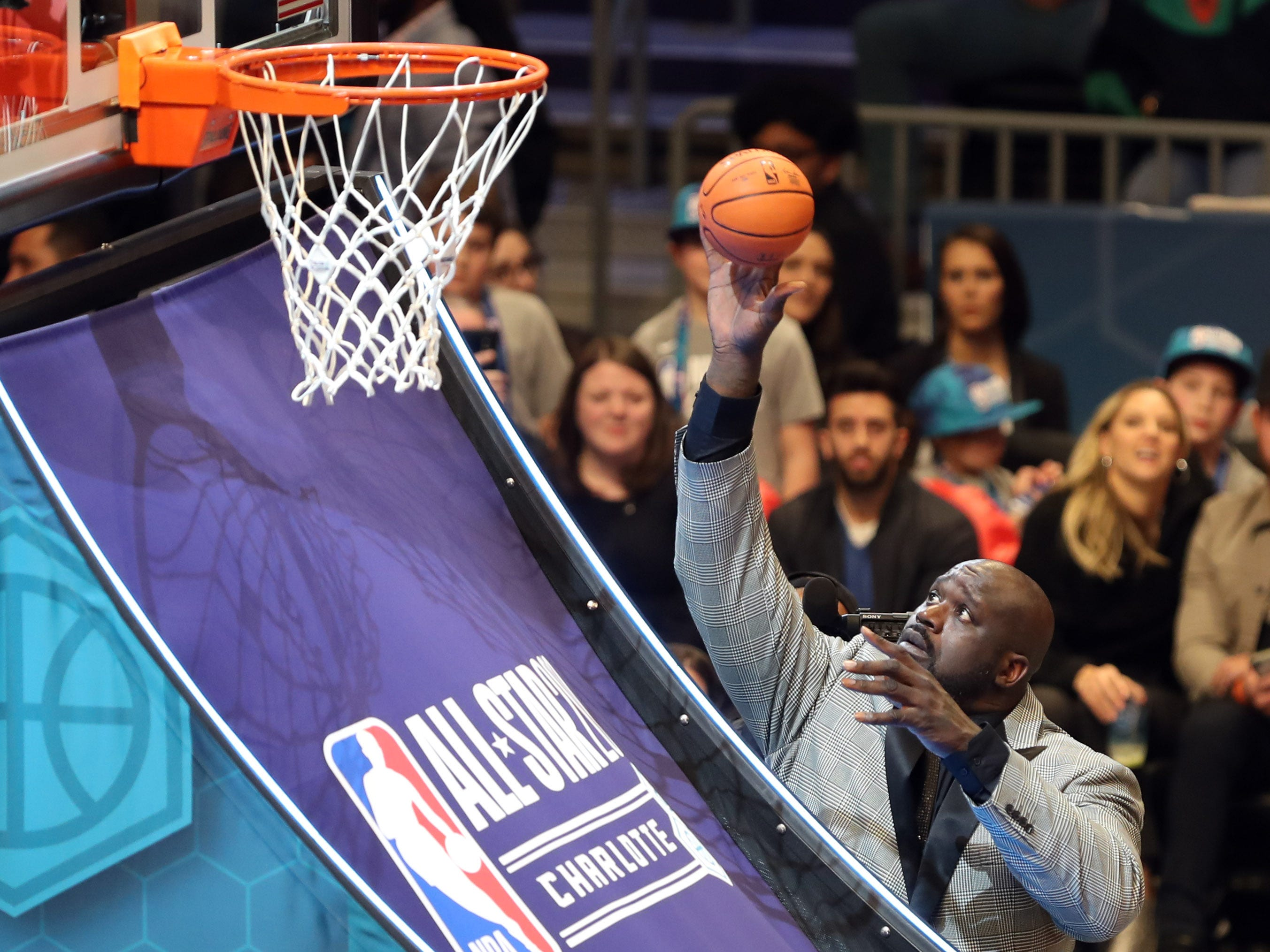 Shaquille O'Neal during a break in the NBA All-Star Saturday Night action.