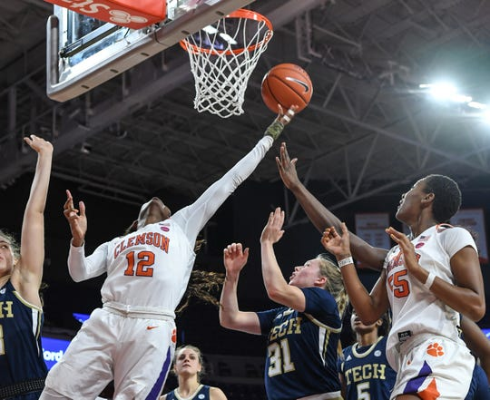 Clemson guard Aliyah Collier (12) has averaged 11.1 points and a team-high 7.6 rebounds this season.