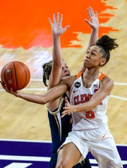 Clemson guard Danielle Edwards (5) is averaging 13.4 points per game.