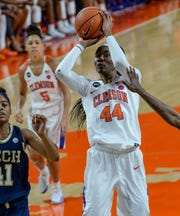 Clemson center Kobi Thornton (44) is averaging 14.7 points per game, best on the team, and 7.4 rebounds per game.