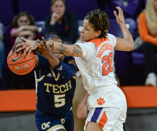 Clemson guard Simone Westbrook (20) is averaging a team-best 3.0 steals per game.