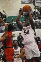 Peabody's Jamal Hayward grabs a rebound against Tioga  Saturday, Feb. 16, 2019 in the Hall of Fame game. Peabody won 86-51.