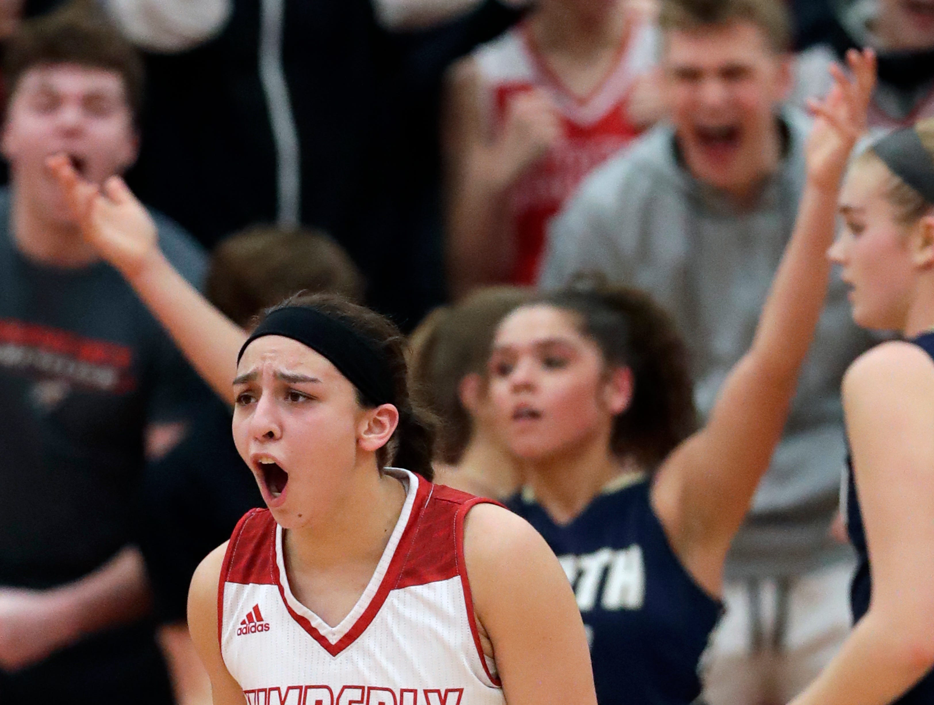 Kimberly High School's Shea Dechant (24) reacts after making a shot and getting fouled to give her team the lead late in the game against Appleton North High School during their girls basketball game Monday, February 11, 2019, in Kimberly, Wis. Dan Powers/USA TODAY NETWORK-Wisconsin