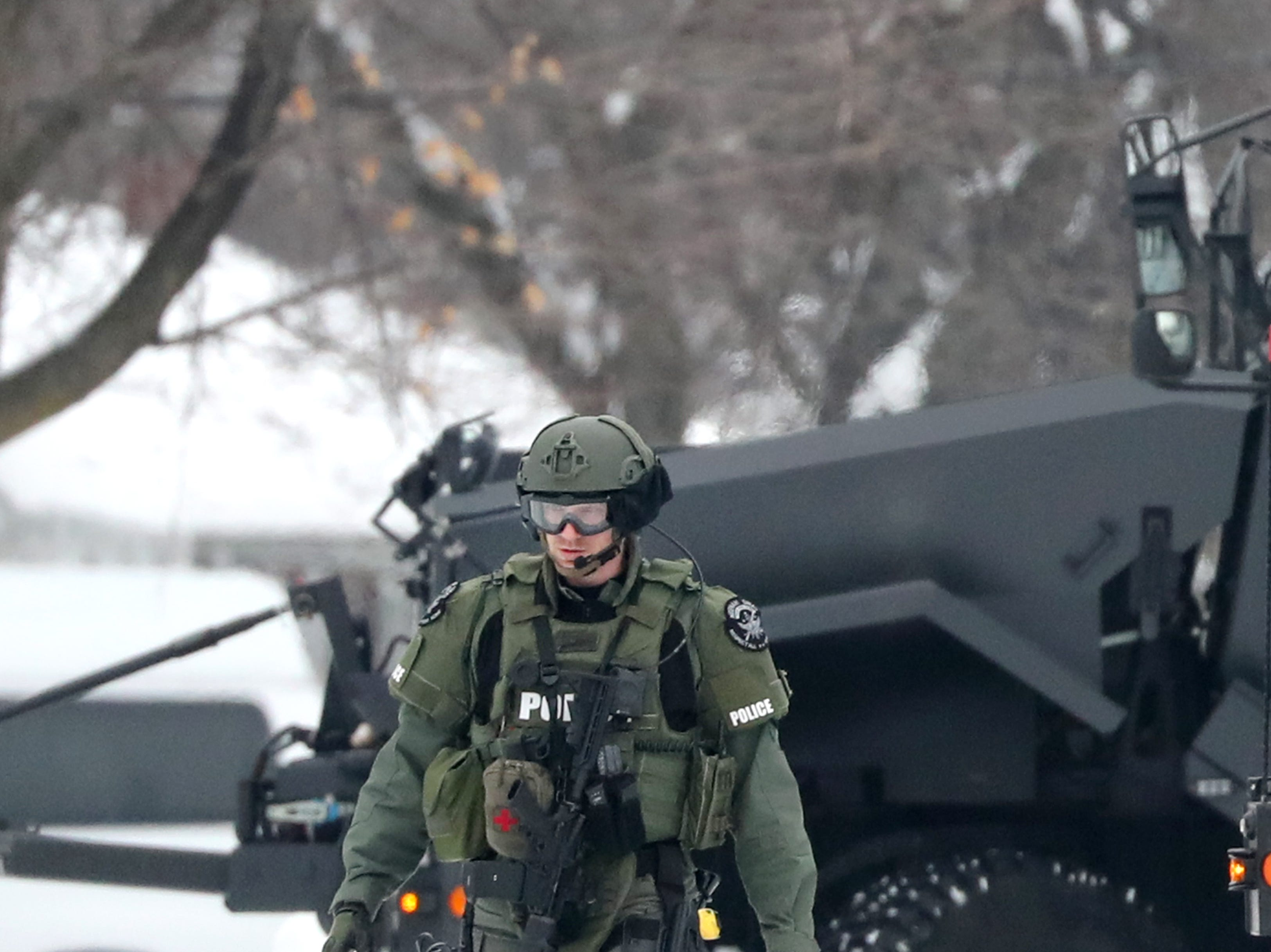 The Law enforcement presence after an armed man who barricaded himself inside a home on the 400 block of Quarry Lane was taken into custody Thursday, Feb. 14, 2019, in Neenah, Wis.Danny Damiani/USA TODAY NETWORK-Wisconsin