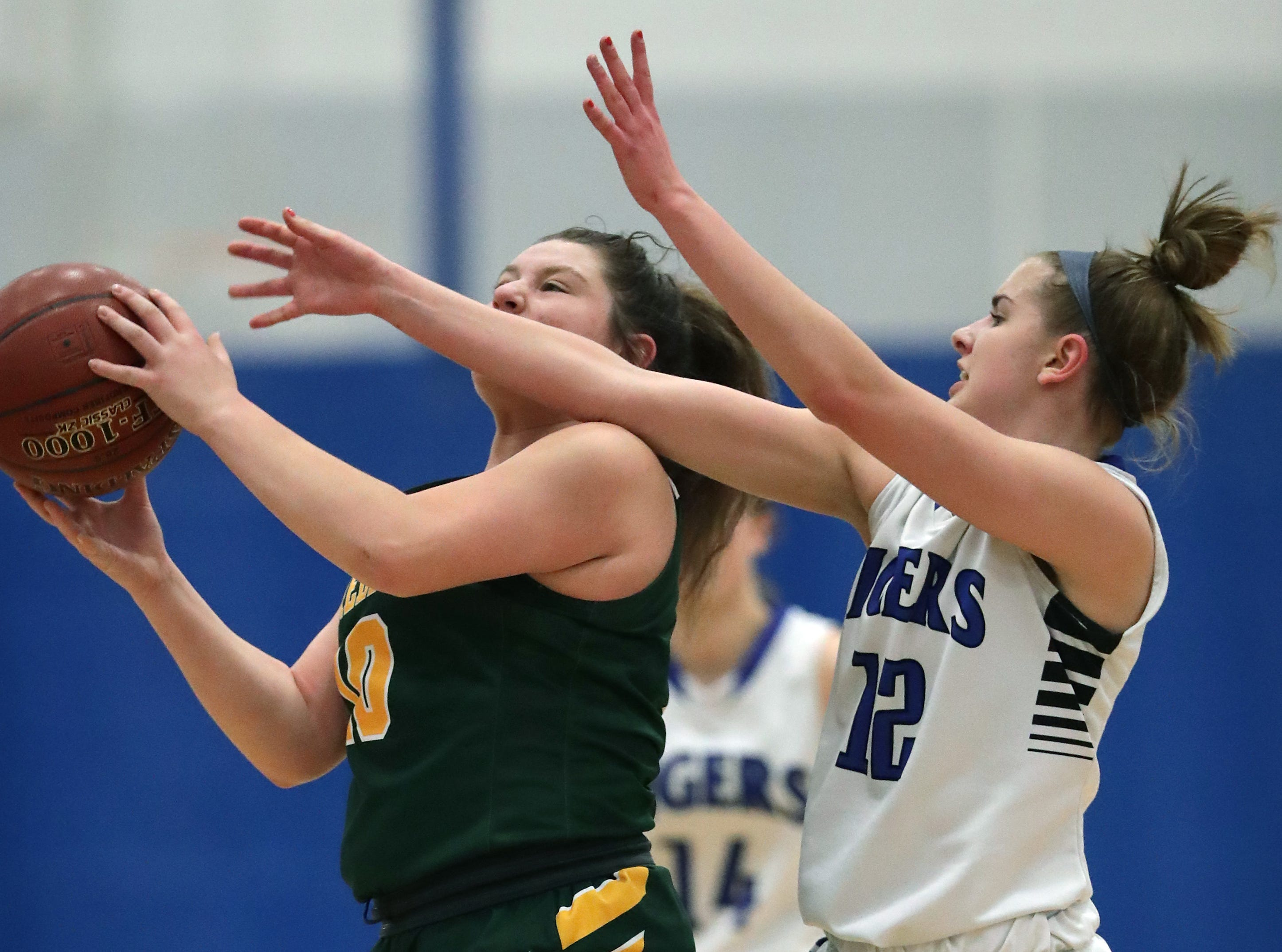Wrightstown High School's #12 Meghan Riha against Freedom High School's #10 Cameron Evers during their North Eastern Conference girls basketball game on Friday, February 15, 2019, in Wrightstown, Wis. Wrightstown defeated Freedom 69 to 44.Wm. Glasheen/USA TODAY NETWORK-Wisconsin.