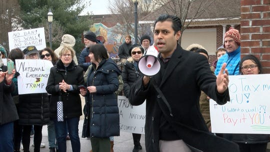 State Senator Vin Gopal speaks to people gathered to protest President Donald Trump's  'national emergency' at Riverside Gardens Park in Red Bank Monday, February 18, 2019.