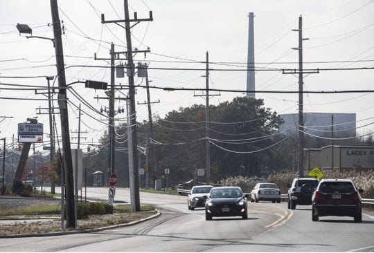 Route 9 looking south with the Oyster Creek Nuclear Generating Station in the background.