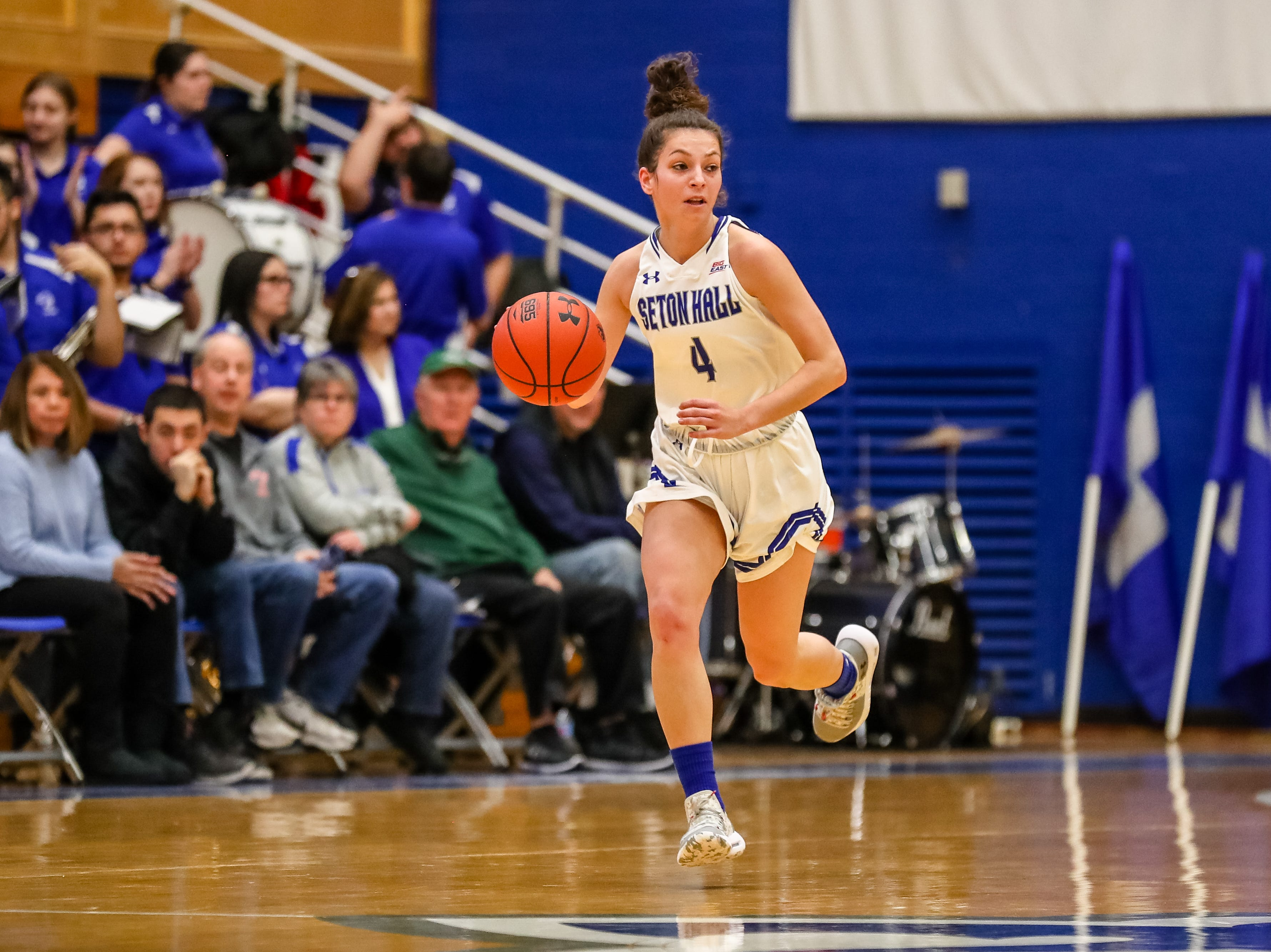 Kaity Healy brings the ball up for Seton Hall women's basketball