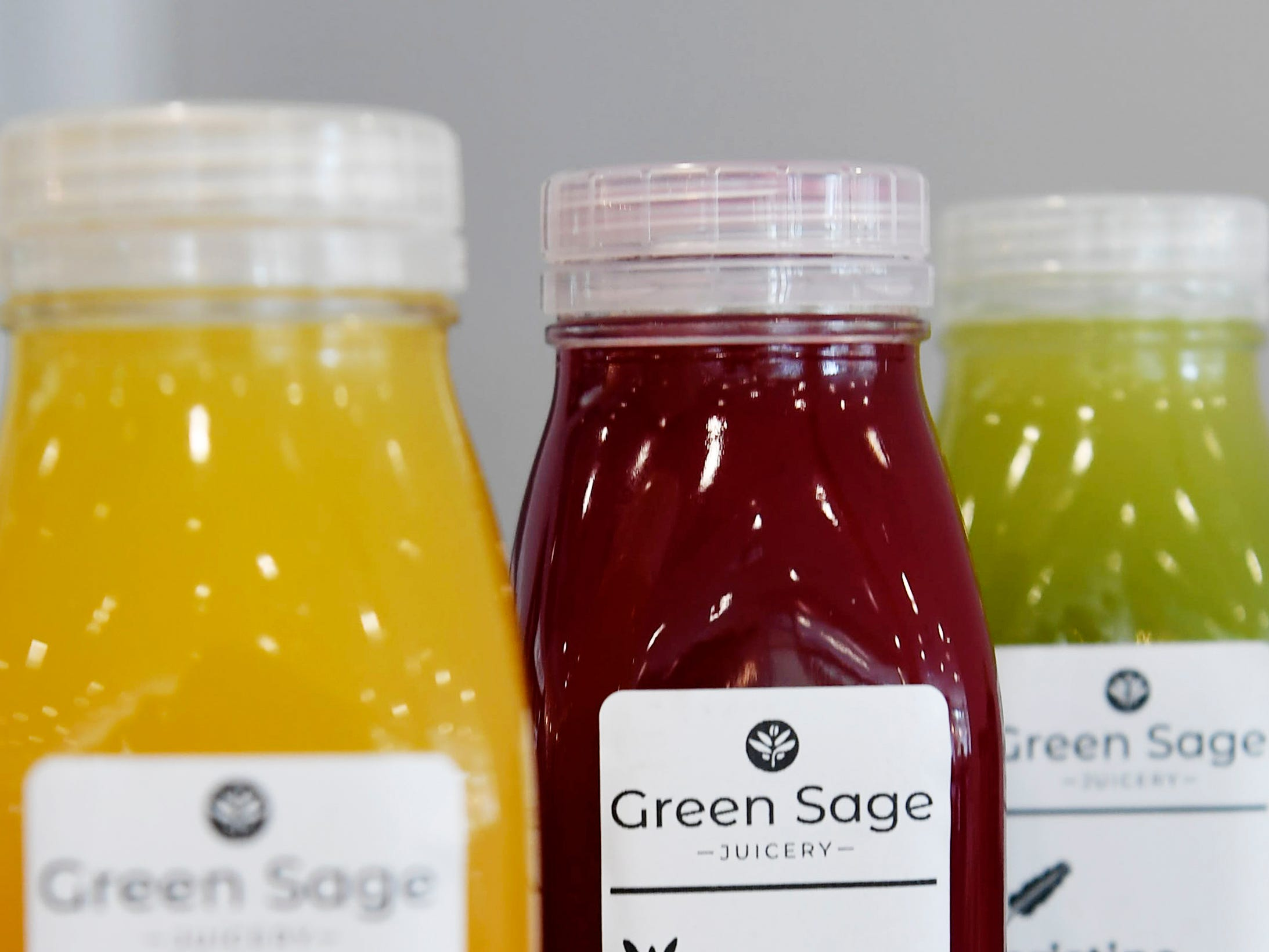 An assortment of juices at Green Sage Cafe's new Merrimon location in North Asheville Feb. 14, 2019.