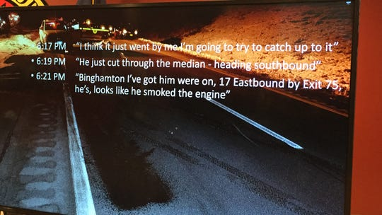 The scene of a deadly Jan. 28, 2019 shootout on Route 17 in Kirkwood, with text from a state trooper's radio transmissions minutes before the gun battle began.