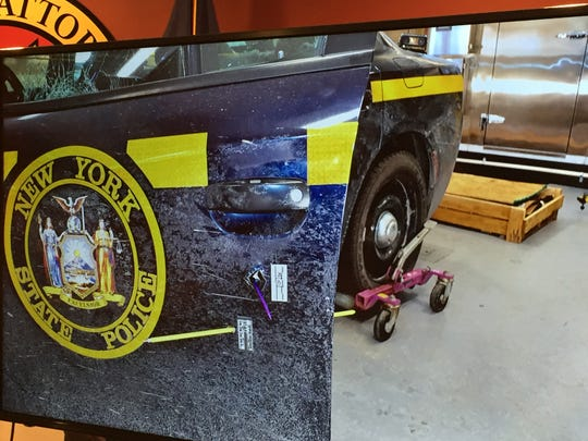 Damage to New York State Trooper Timothy Conklin's patrol vehicle after the shootout Jan. 28, 2019 with Nicholas Philhower.