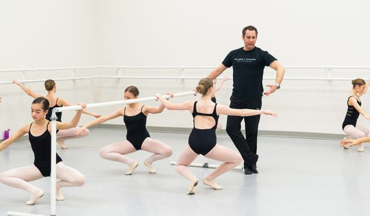 David Arce works with young dancers at the Juline Regional Youth Ballet in Modesto, Calif.