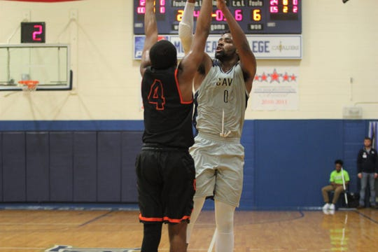 Montreat forward Nicodemus Payne shoots over a Union defender on Feb. 16, as the Cavaliers fell at home, 91-62.