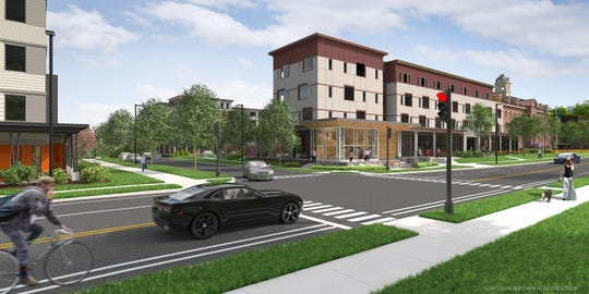 From the southeast: A new 90-unit apartment and retail development at Cambrian Rise will include parts of the former Burlington College building as well as a new structure extending south along North Avenue. This rendering created by Lincoln Brown shows the former St. Joseph's Orphanage (now Liberty House) in the background.