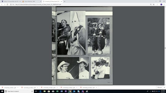 One of the photos on the Army ROTC page of the 1980 University of Texas yearbook shows a man in Klan attire.