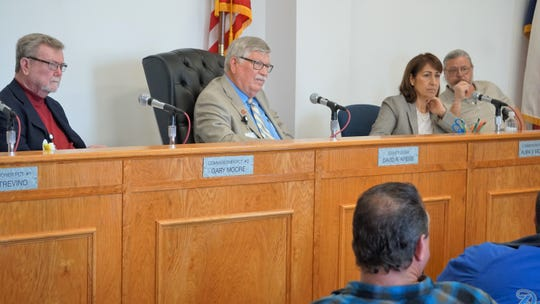 Members of the San Patricio County Commissioners Court listen to comments from the audience during a Feb. 18, 2019 public hearing on a proposed reinvestment zone for a new steel mill being considered for the area.