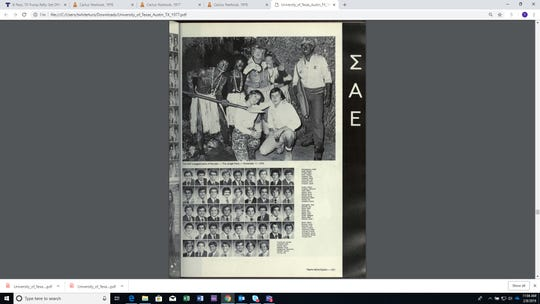 "A page from the 1977 University of Texas yearbook shows a fraternity ""Jungle Party.'"