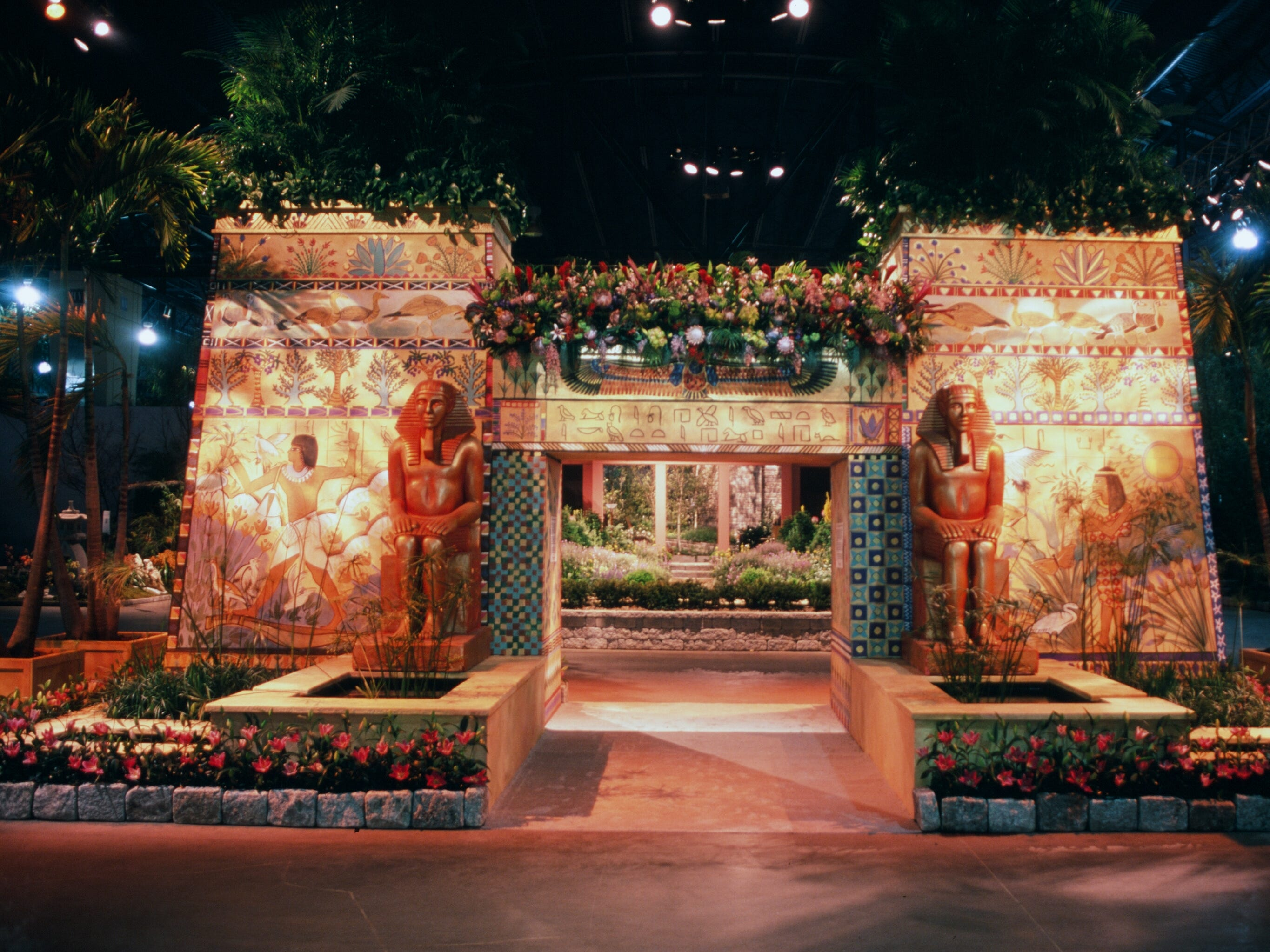 An Egyptian theme greeted guests to the 2001 Philadelphia Flower Show.
