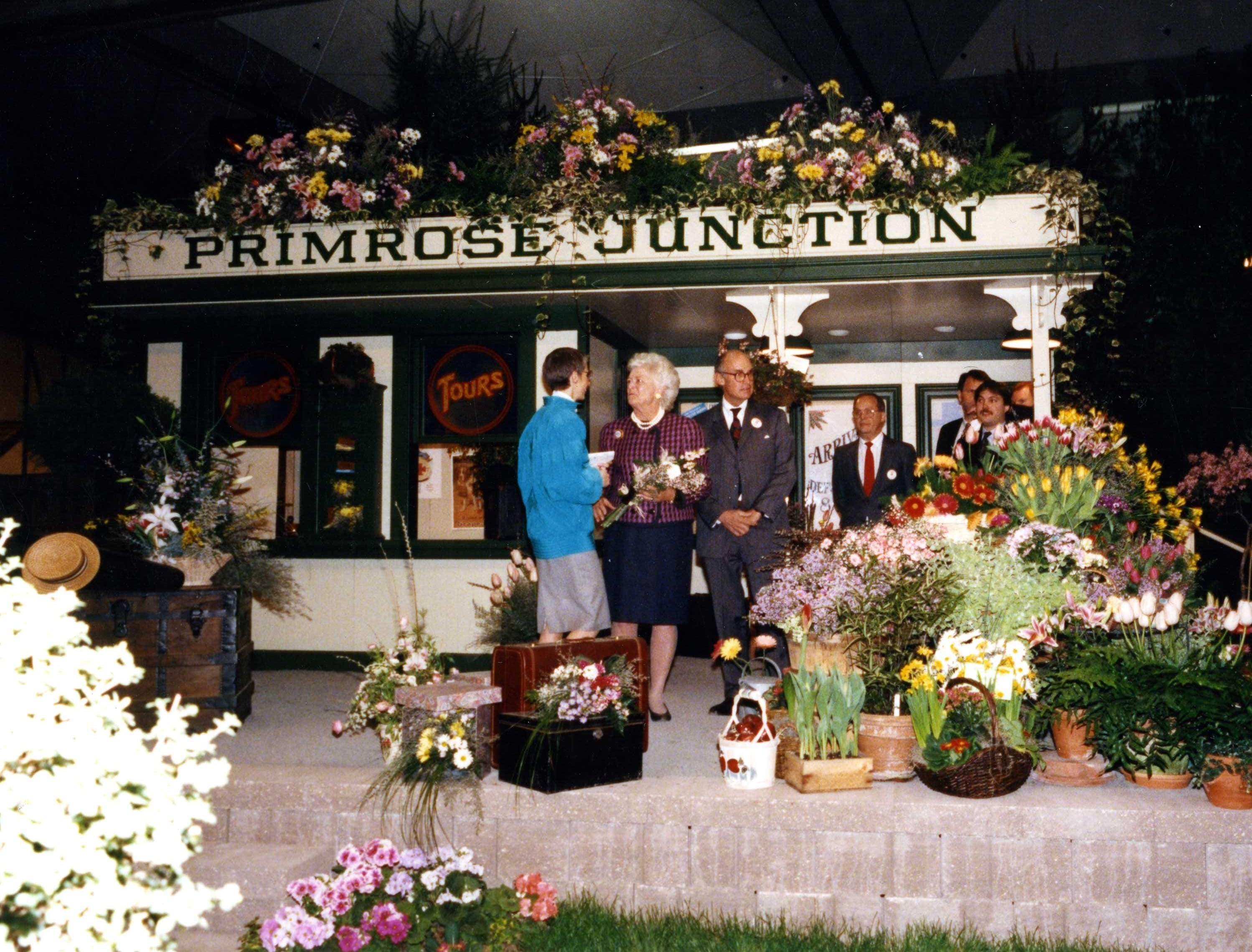 First Lady Barbara Bush at Primrose Junction exhibit at the Philadelphia Flower Show in 1992.