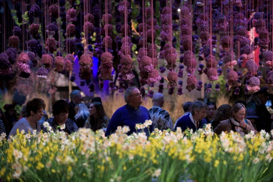 Guests walk through a showroom crowded with various flowers inside the Philadelphia Flower Show Thursday, March 16, 2017 at the Convention Center in Philadelphia.