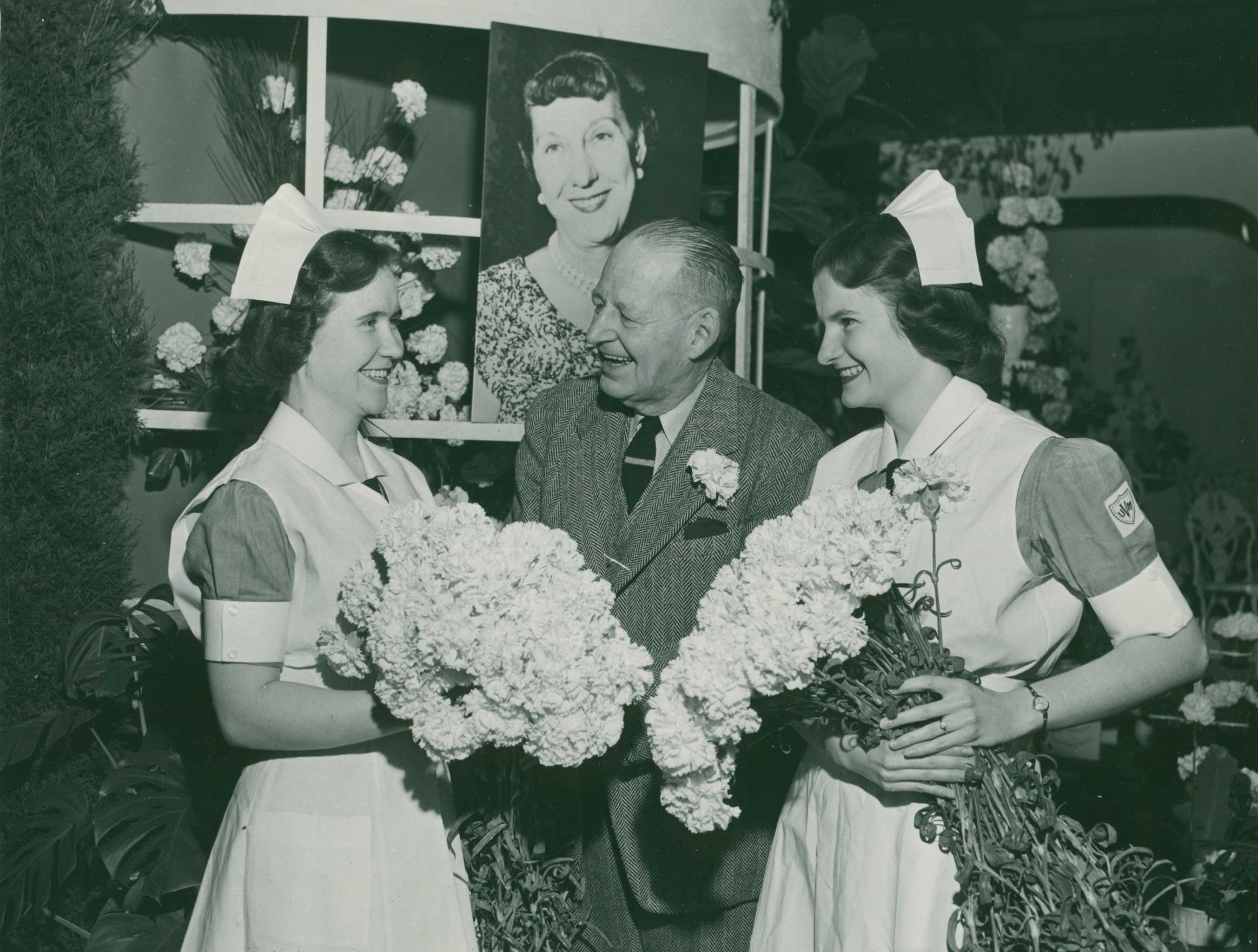 Carnations are gathered for Mamie Eisenhower at the 1953 Philadelphia Flower Show.