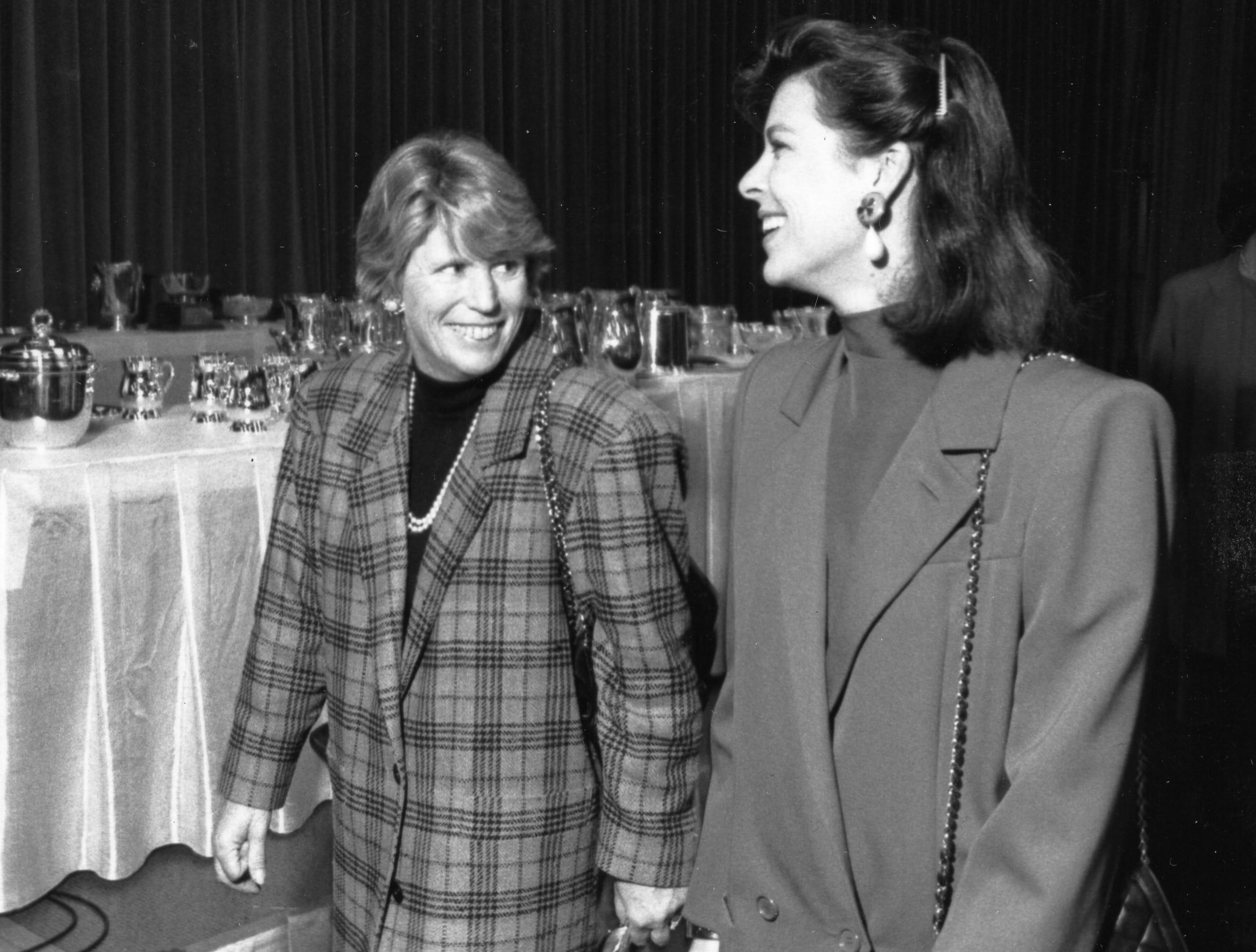 Marban Sparkman, left, president of the Garden Club of Philadelphia, accompanied by Princess Caroline of Monaco at the 1990 Philadelphia Flower Show awards luncheon.